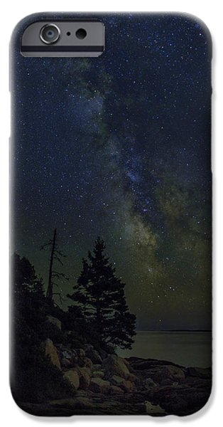New England Lighthouse iPhone Cases - Milky Way Over Otter Point iPhone Case by Rick Berk