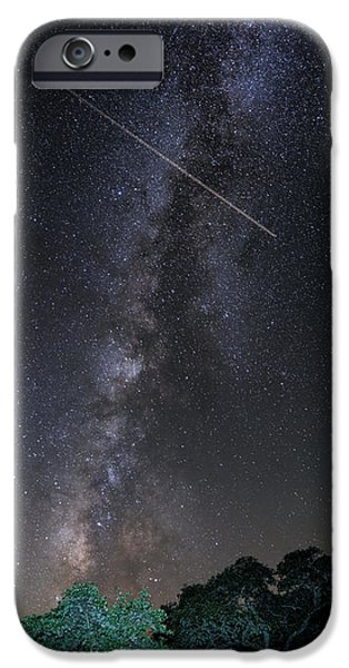 Dark Skies iPhone Cases - Milky Way Vertical Panorama at Enchanted Rock State Natural Area - Texas Hill Country iPhone Case by Silvio Ligutti