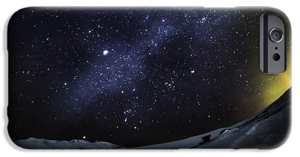 Wintertime Photographs iPhone Cases - Milky Way With Aurora Borealis Or iPhone Case by Panoramic Images