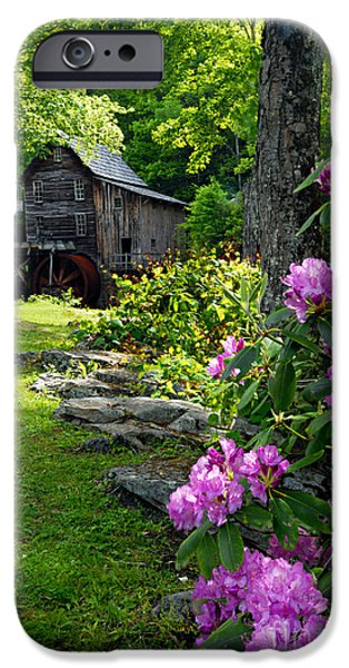 Grist Mill iPhone Cases - Mill and Rhododendrons iPhone Case by Larry Ricker