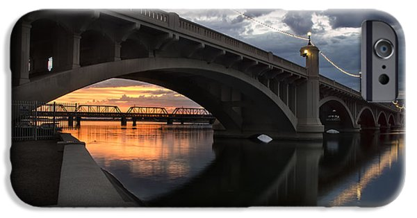Reflecting Sunset iPhone Cases - Mill Avenue Bridge Reflections Sunset iPhone Case by Dave Dilli