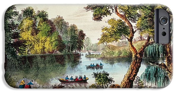 Hudson River iPhone Cases - Mill Cove Lake iPhone Case by Currier and Ives