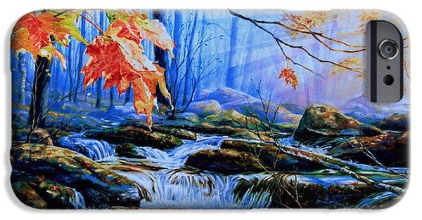 Autumn iPhone Cases - Mill Creek Autumn Sunrise iPhone Case by Hanne Lore Koehler