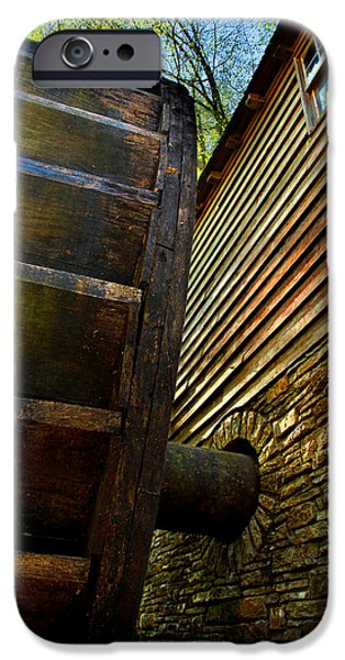 Grist Mill iPhone Cases - Mill Wheel Closeup iPhone Case by Michael Eingle