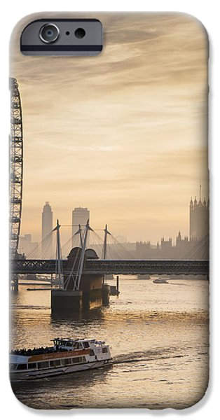 Boat Cruise iPhone Cases - Millenium Wheel With Big Ben_ London iPhone Case by Charles Bowman