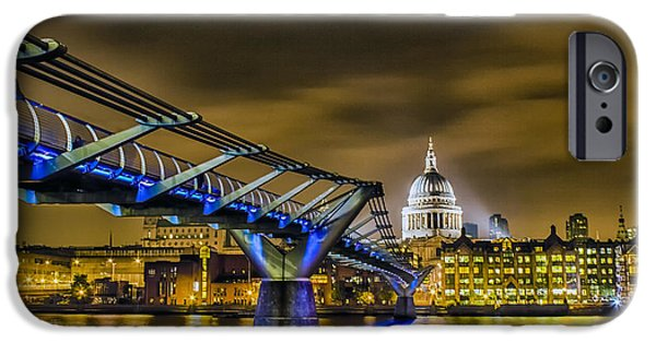 River View iPhone Cases - Millennium Bridge with St pauls iPhone Case by Ian Hufton