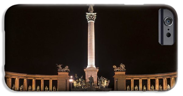 Liberation iPhone Cases - Millennium Monument Budapest Night iPhone Case by Joan Carroll