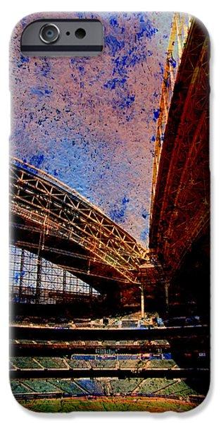 Baseball Stadiums Digital Art iPhone Cases - Miller Park 2 w paint iPhone Case by Anita Burgermeister