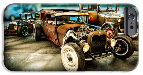 Antiques iPhone Cases - Millers Chop Shop Model A Sedans iPhone Case by Yo Pedro