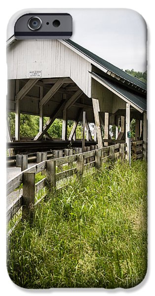 Cover iPhone Cases - Millers Run Covered Bridge iPhone Case by Edward Fielding