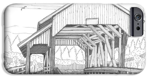 Covered Bridge Drawings iPhone Cases - Millers Run Covered Bridge iPhone Case by Richard Wambach