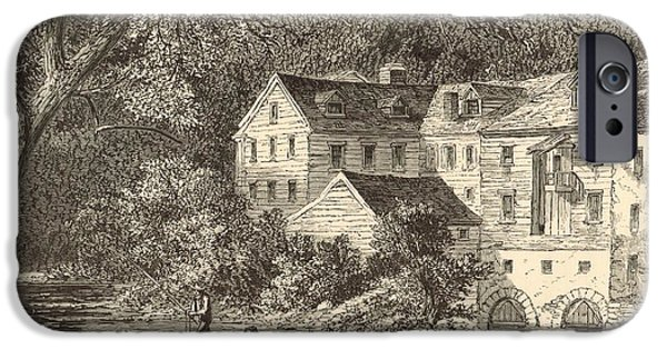 Grist Mill Drawings iPhone Cases - Mills at Rockland NY 1869 Engraving by John Filmer iPhone Case by Antique Engravings