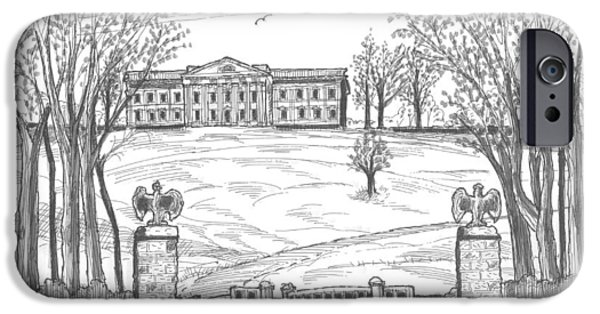 Historic Site Drawings iPhone Cases - Mills Mansion Staatsburg iPhone Case by Richard Wambach