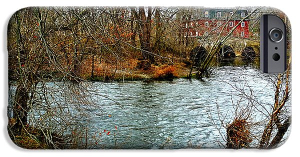 Grist Mill iPhone Cases - Millstone River Bridge and Gristmill iPhone Case by Mark Victors
