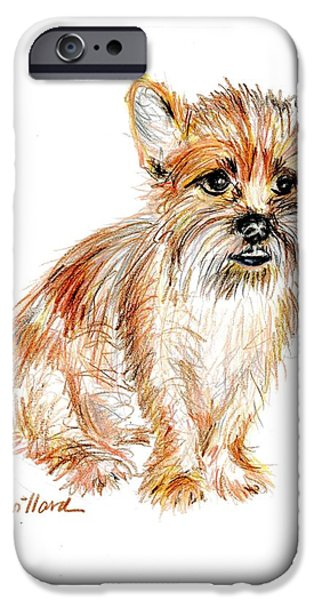 Fuzzy Golden Puppy iPhone Cases - Milo Waits Patiently iPhone Case by Deborah Willard