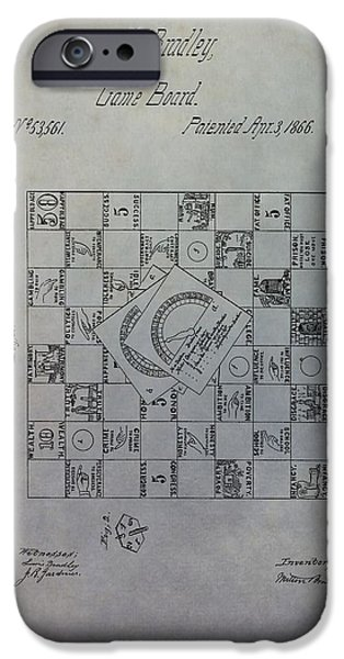 First Family iPhone Cases - Milton Bradley Life Game Patent iPhone Case by Dan Sproul