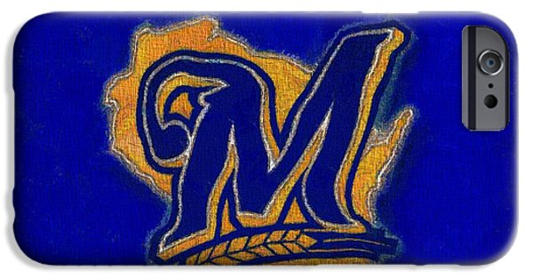 Mlb Mixed Media iPhone Cases - Milwaukee Brewers iPhone Case by Dan Sproul