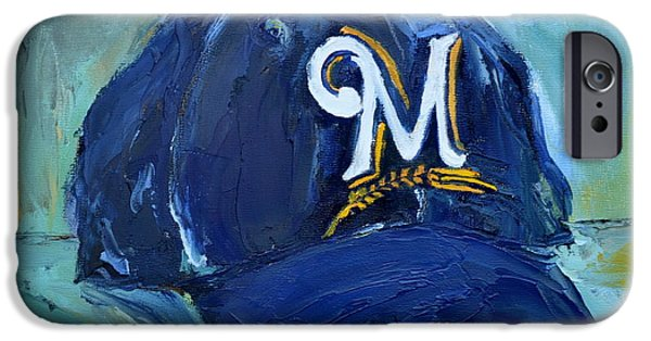 Baseball Art Paintings iPhone Cases - Milwaukee Brewers iPhone Case by Lindsay Frost
