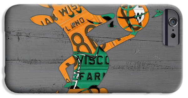 Basketball Team iPhone Cases - Milwaukee Bucks Basketball Team Logo Vintage Recycled Wisconsin License Plate Art iPhone Case by Design Turnpike