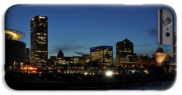 Night Lamp iPhone Cases - Milwaukee City Scape Panorama iPhone Case by Deborah Klubertanz