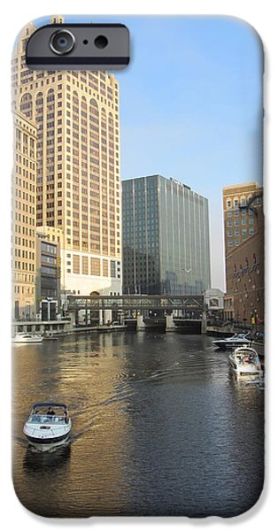 Escape iPhone Cases - Milwaukee River Theater District 3 iPhone Case by Anita Burgermeister
