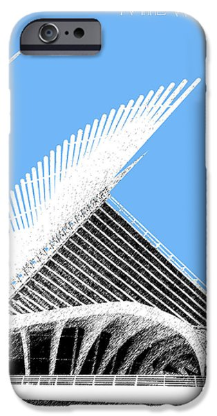 Pen And Ink iPhone Cases - Milwaukee Skyline Art Museum - Light Blue iPhone Case by DB Artist