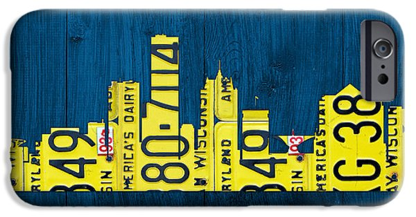 Silhouette Mixed Media iPhone Cases - Milwaukee Wisconsin City Skyline License Plate Art Vintage on Wood iPhone Case by Design Turnpike