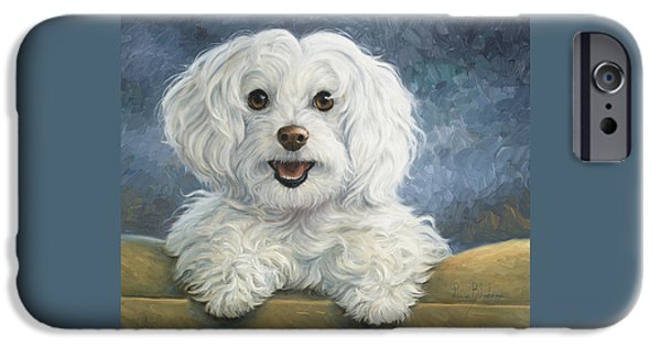 Dogs Paintings iPhone Cases - Mimi iPhone Case by Lucie Bilodeau