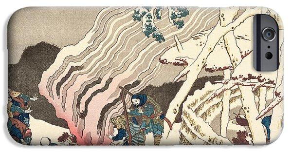 Happy Posters iPhone Cases - Minamoto no Muneyuki Ason iPhone Case by Hokusai
