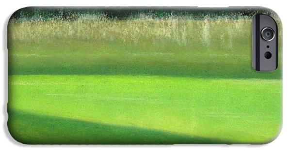 Nature Scene Pastels iPhone Cases - Minchinhampton Golf course III iPhone Case by Juliet Matthews