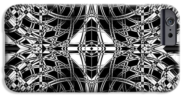 Modern Abstract Mixed Media iPhone Cases - B W Sq 10 iPhone Case by Mike McGlothlen