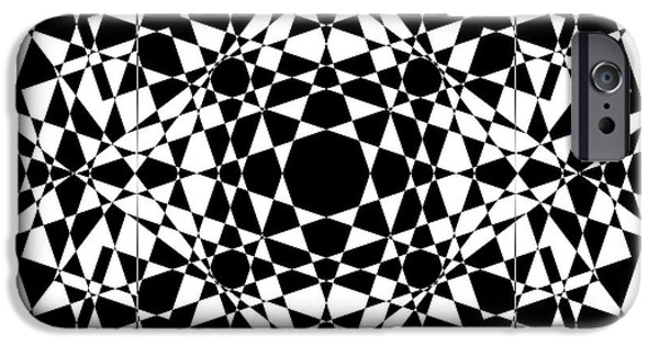 Modern Abstract Mixed Media iPhone Cases - B W Sq 2 iPhone Case by Mike McGlothlen