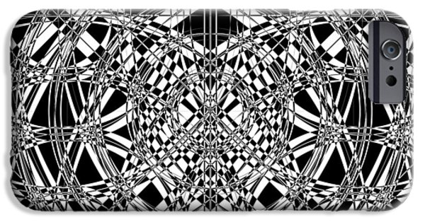 Modern Abstract Mixed Media iPhone Cases - B W Sq 4 iPhone Case by Mike McGlothlen