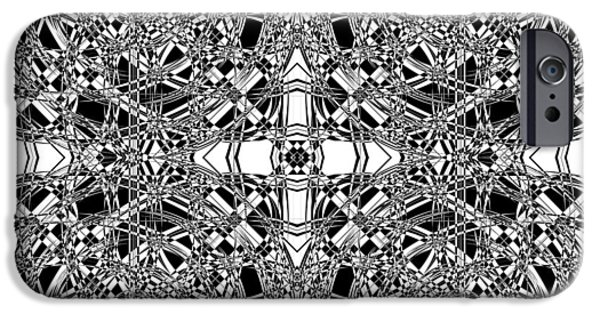 Modern Abstract Mixed Media iPhone Cases - B W Sq 5 iPhone Case by Mike McGlothlen