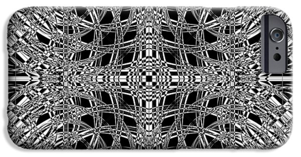Modern Abstract Mixed Media iPhone Cases - B W Sq 8 iPhone Case by Mike McGlothlen