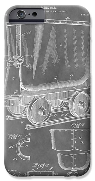Colorado Drawings iPhone Cases - Mine Cart Patent iPhone Case by Dan Sproul
