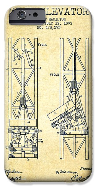 Mining iPhone Cases - Mine Elevator Patent from 1892 - Vintage iPhone Case by Aged Pixel