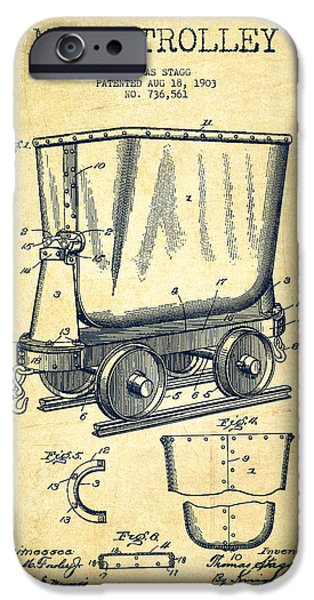 Technical iPhone Cases - Mine Trolley Patent Drawing From 1903 - Vintage iPhone Case by Aged Pixel