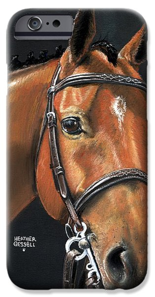 Horse Pastels iPhone Cases - Miner - Bay Horse portrait iPhone Case by Heather Gessell