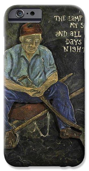 Recently Sold -  - Night Lamp iPhone Cases - Miner - Lamp Is My Sun iPhone Case by Eric Cunningham