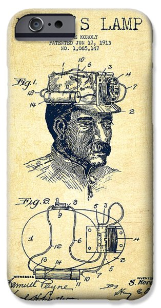 Technical iPhone Cases - Miners Lamp Patent Drawing From 1913 - Vintage iPhone Case by Aged Pixel