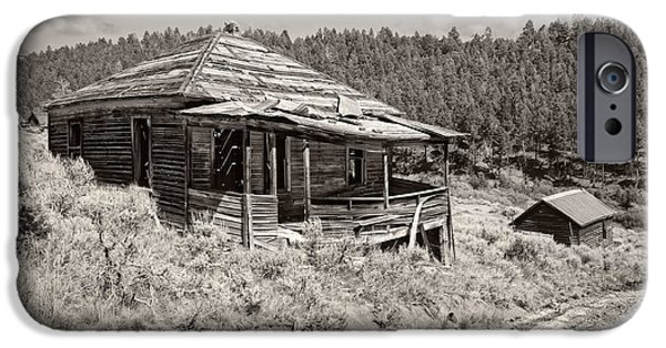 Pioneer Homes iPhone Cases - Miners Shack - Comet Ghost Mine - Montana iPhone Case by Daniel Hagerman