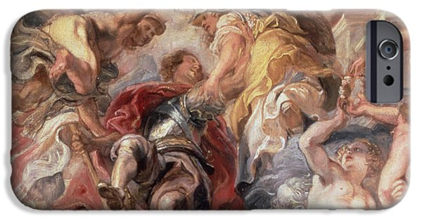 Rubens iPhone Cases - Minerva and Mercury Conduct the Duke of Buckingham iPhone Case by Rubens