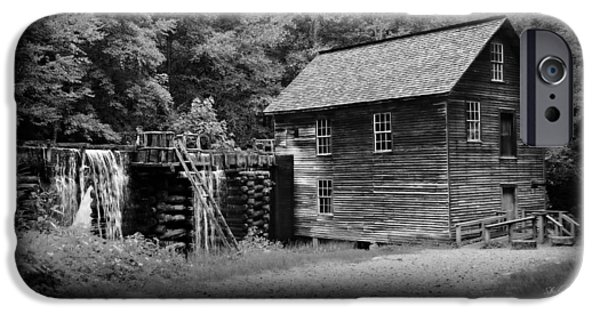 Grist Mill iPhone Cases - Mingus Mill -- Black and White Poster iPhone Case by Stephen Stookey