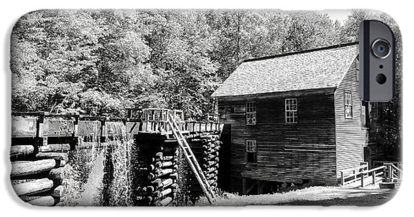 Grist Mill iPhone Cases - Mingus Mill Smoky Mountains - BW iPhone Case by Cynthia Woods