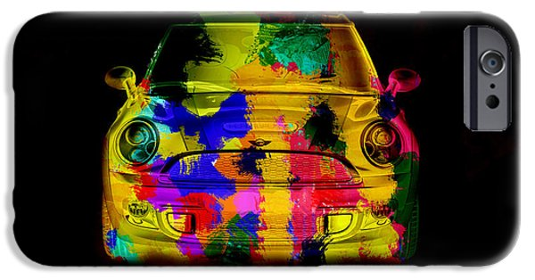 Recently Sold -  - Electronic iPhone Cases - Mini Cooper colorful abstract on black iPhone Case by Eti Reid