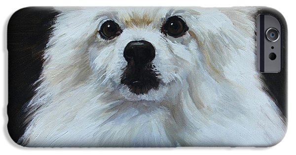 Miniatures iPhone Cases - Miniature American Eskimo Dog iPhone Case by Alice Leggett