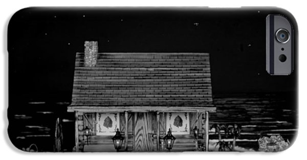 Table Wine iPhone Cases - Miniature Log Cabin Scene With Old Vintage Classic 1962 Coca Cola Flower Power V.w. Bus In B/w iPhone Case by Leslie Crotty