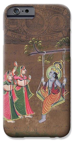 Hindu Goddess iPhone Cases - Krishna iPhone Case by Art Tantra