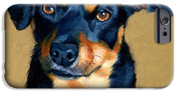 Puppies iPhone Cases - Miniature Pinscher Dog Painting iPhone Case by Alice Leggett
